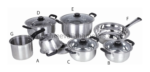 12pc Encapsulated Cookware BakeLite Glass Lid