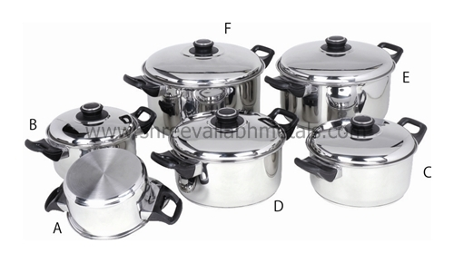 12PC Encapsulated Cookware BakeLite SS Lid