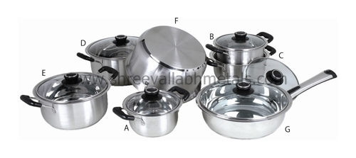 13PC Encapsulated Cookware BakeLite Glass Lid